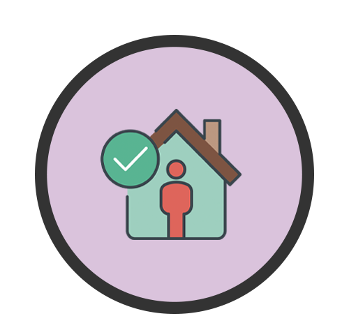 Icon of a person standing alone inside of a house