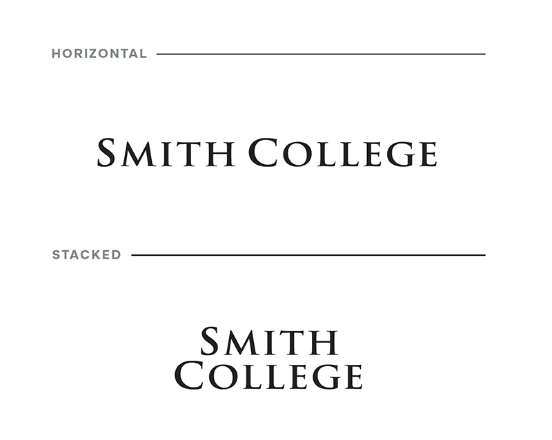 Smith College informal logo, illustrating difference between horizontal and stacked lockups