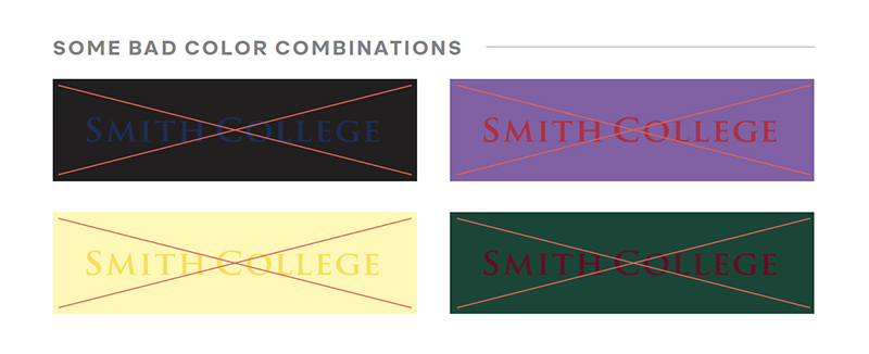 Examples of bad logo color combinations