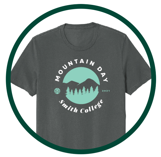 """Grey t-shirt with text that reads """"Mountain Day 2021 Smith College"""" surrounding a graphic illustration of mountains and trees."""