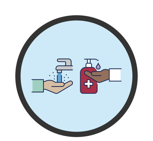 Icon of hands washing and using sanitizer