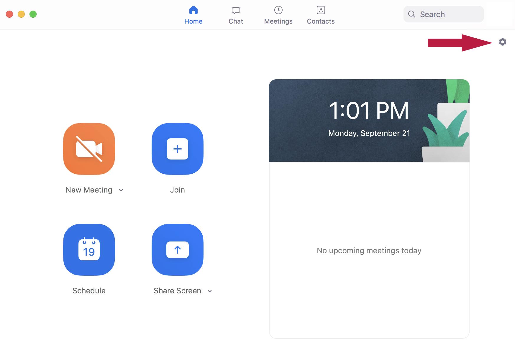Screenshot of Zoom home screen