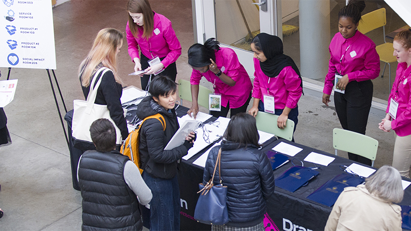 Students checking in at the Draper Competition