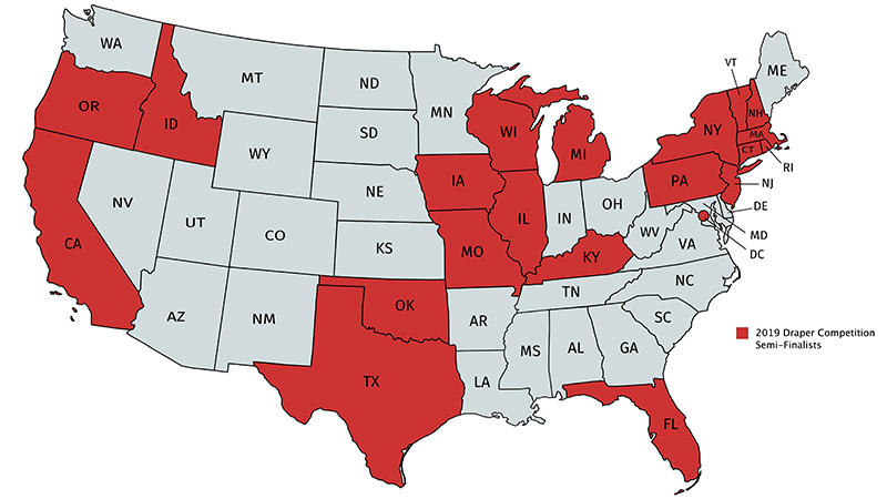 Map of the United States indicating schools participating in the Draper Competition