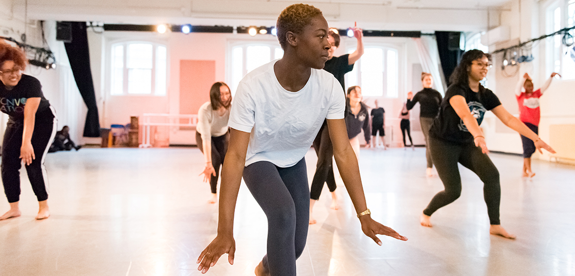 A group of dancers rehearse in Scott Dance Studio