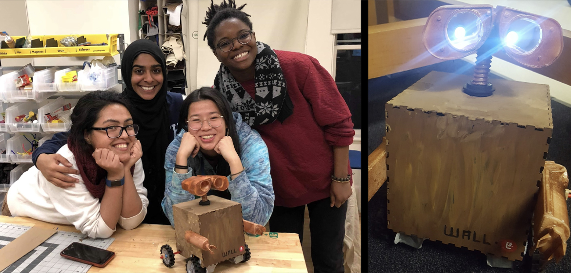 Team Wall-e students smiling with their project