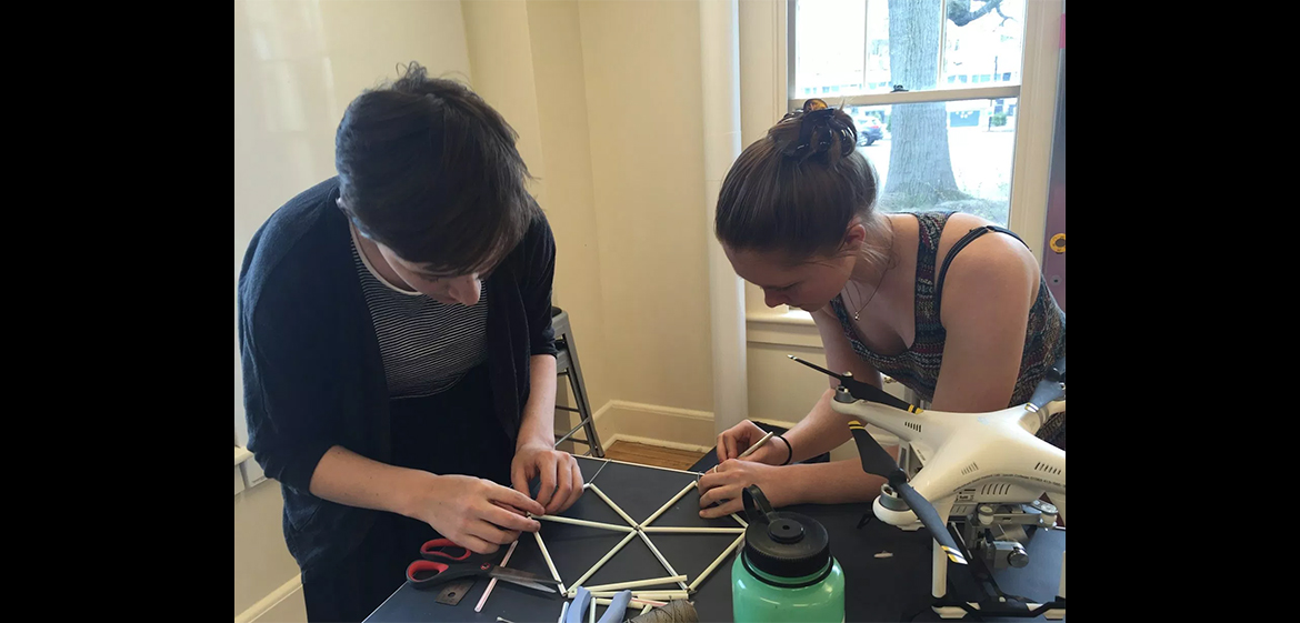 Students working on creating a drone prototype