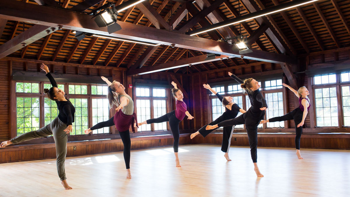 Dance class in the dance studio at Smith College.