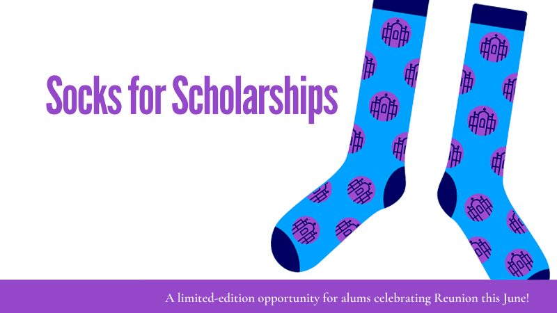 Socks for Scholarships, a limited-edition opportunity for alums celebrating Reunion this year! Pictured: Socks, bright blue decorated with a repeating pattern of Smith's informal seal in royal purple.