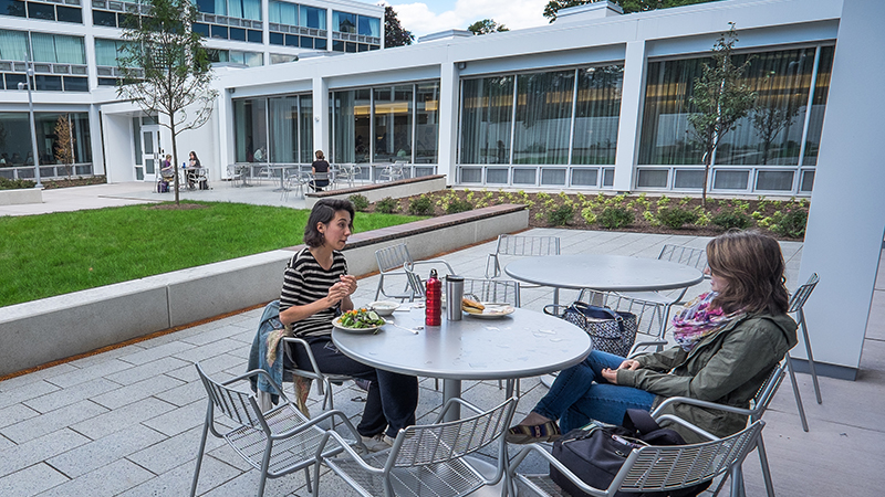 Two students dining outside in the Cutter courtyard