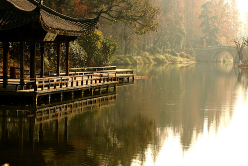 Pagoda and Bridge in Hangzhou, China