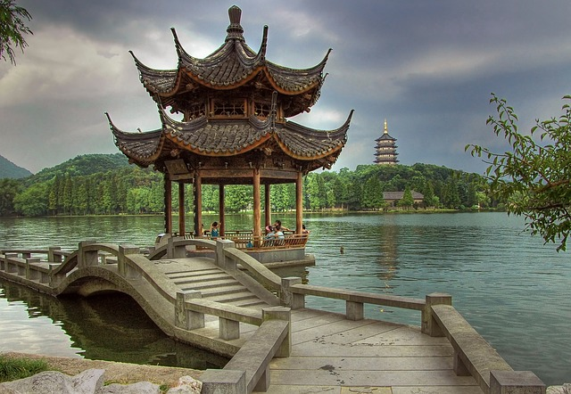 Pagoda on the lake in Hangchou China