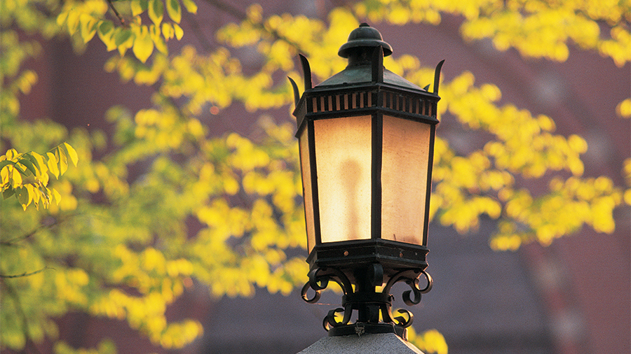 Closeup of an outdoor lamp on campus