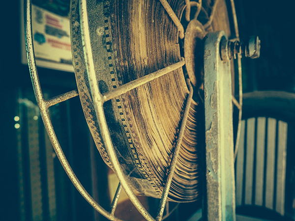 Closeup of a old film reel