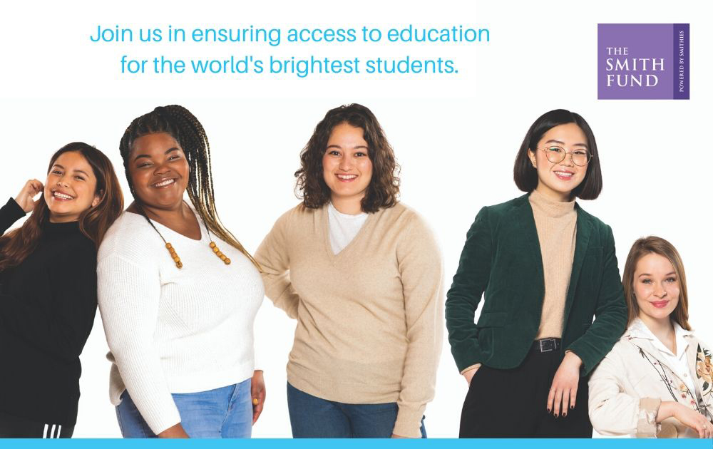 Graphic with five students and the text Here for Every Voice, join us in ensuring access to education for the worlds brightest students