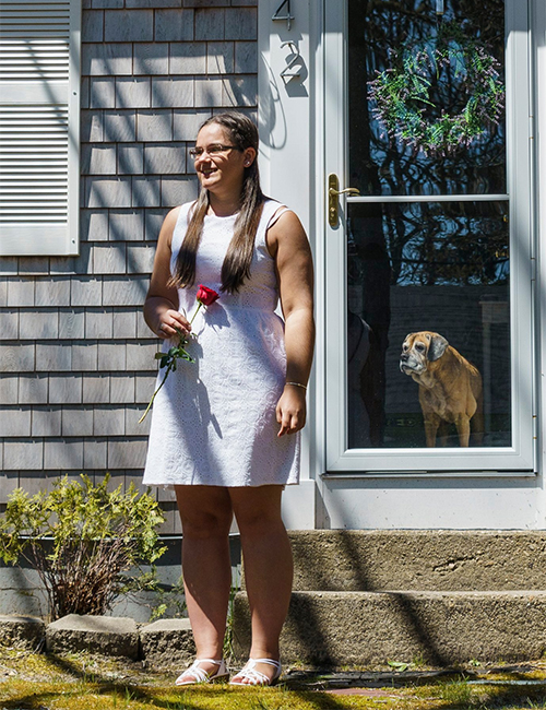 Alison Smith '20 receiving her graduation rose on Cape Cod
