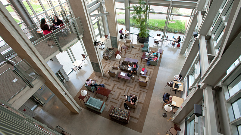 Students studying in the Ford Hall atrium