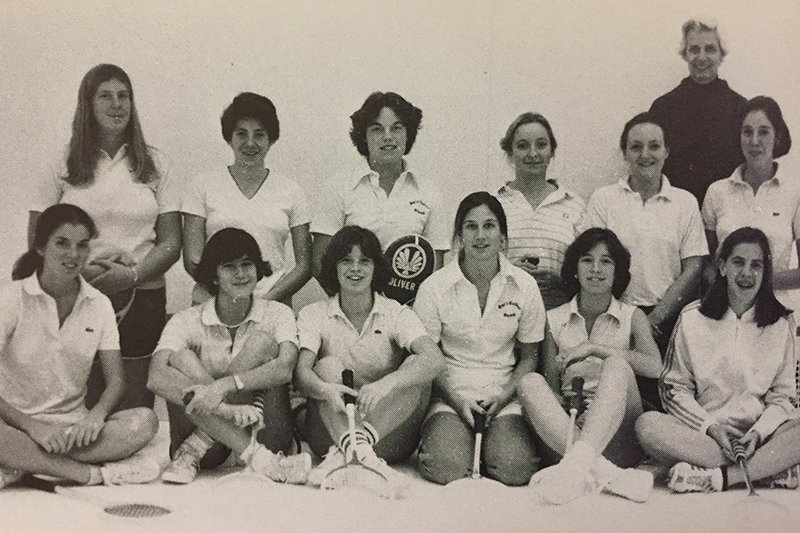 Archival photo of the squash team