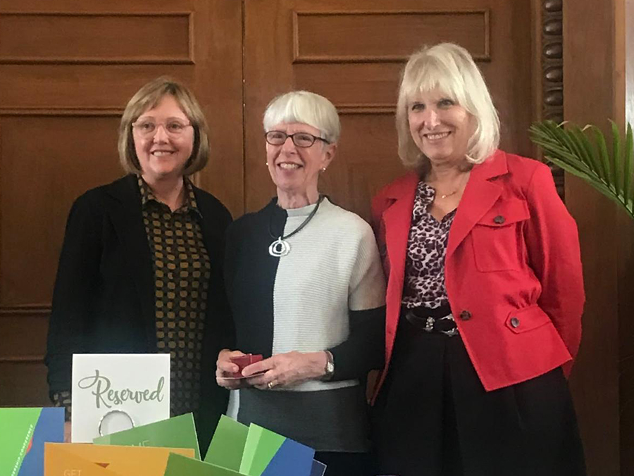 Kathleen McCartney, Mary Grant and Susan Greene at an event on campus