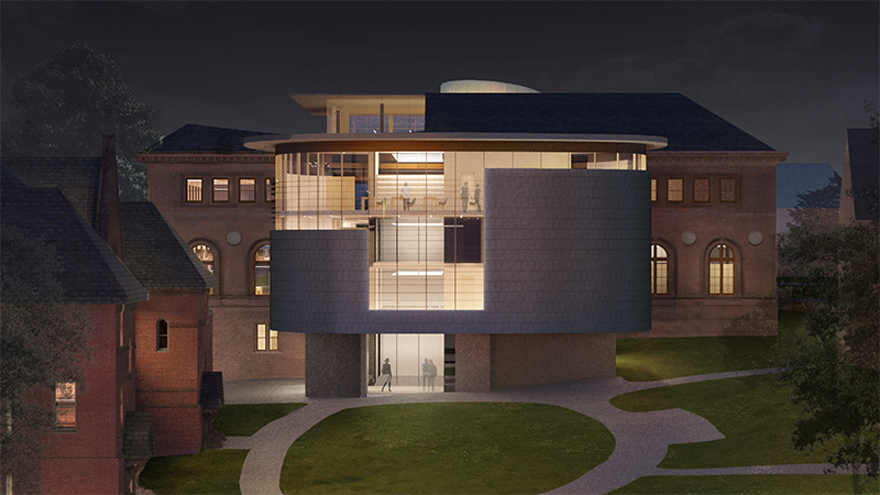 Nighttime rendering of Neilson Library from Green Street