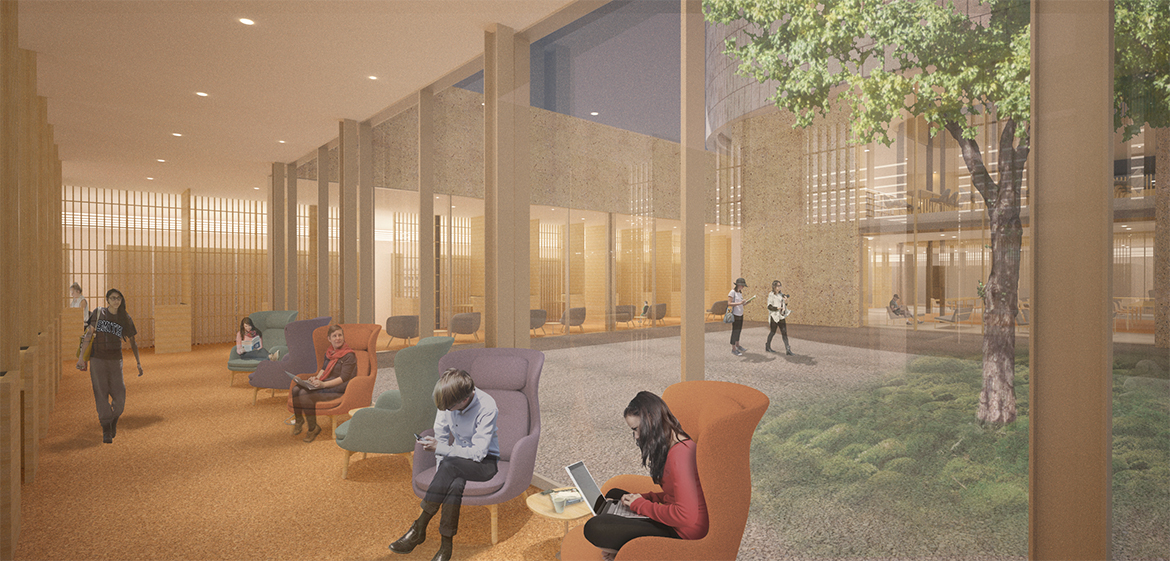 Rendering of the study spaces surrounding the sunken courtyard