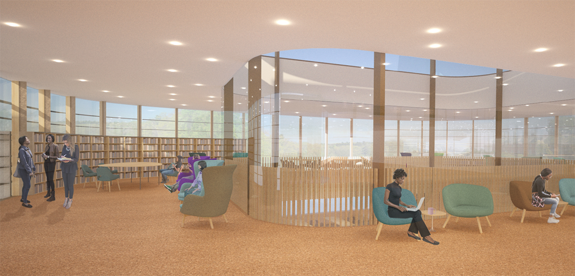 Rendering of a study room in the north wing