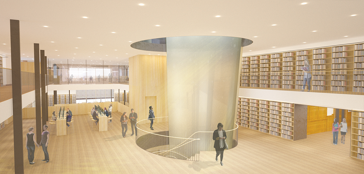 Rendering of the main hall of Neilson Library