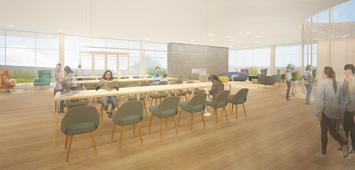 Rendering of the rooftop skyline reading room