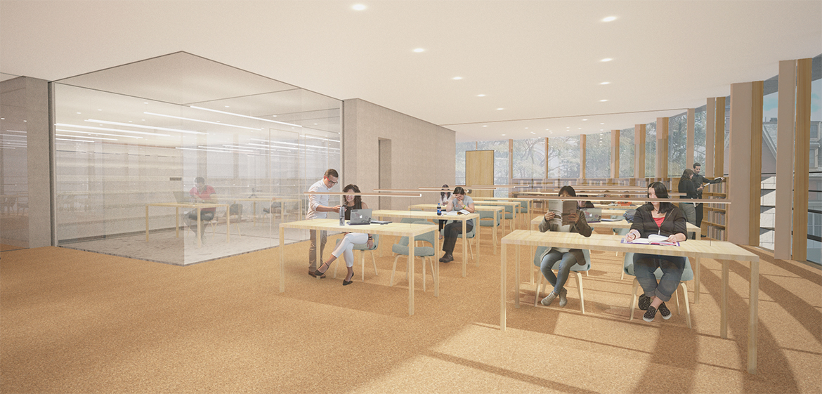Rendering of a reading room in the south wing