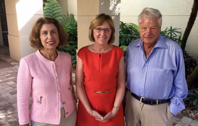 Phyllis and Jerry Rappaport with President Kathleen McCartney