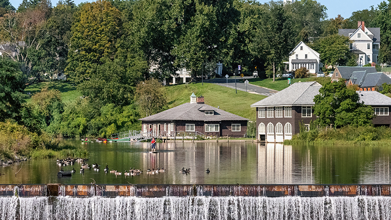 Paradise Pond, boathouse and waterfall taken by Jeff Baker