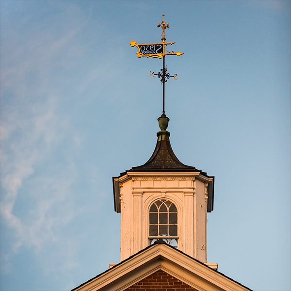 Weathervane on top of a building