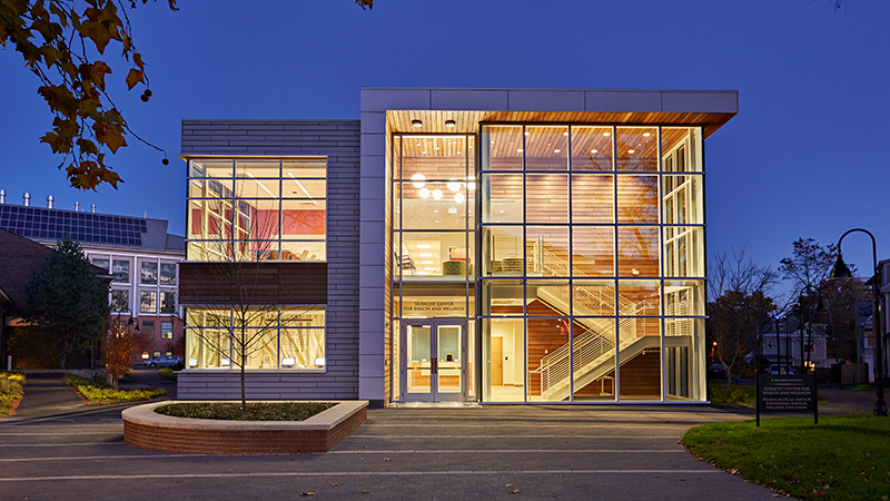 Exterior of the Schacht Center at night