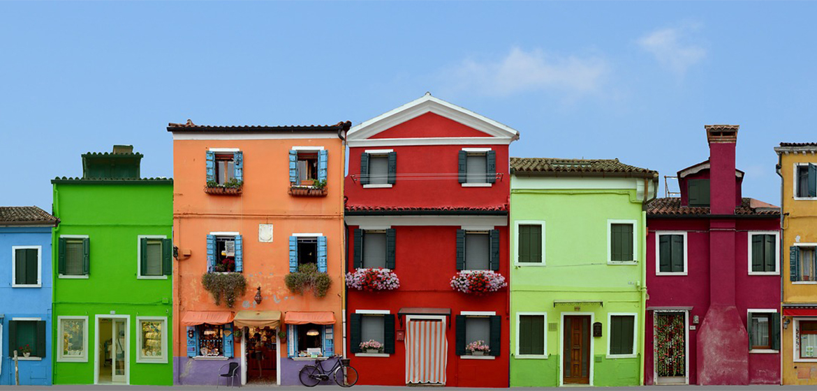 Multi-colored houses in Burano, Italy