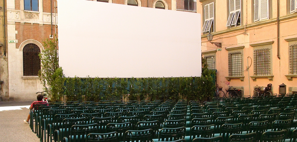 Film projection set up on Italian street