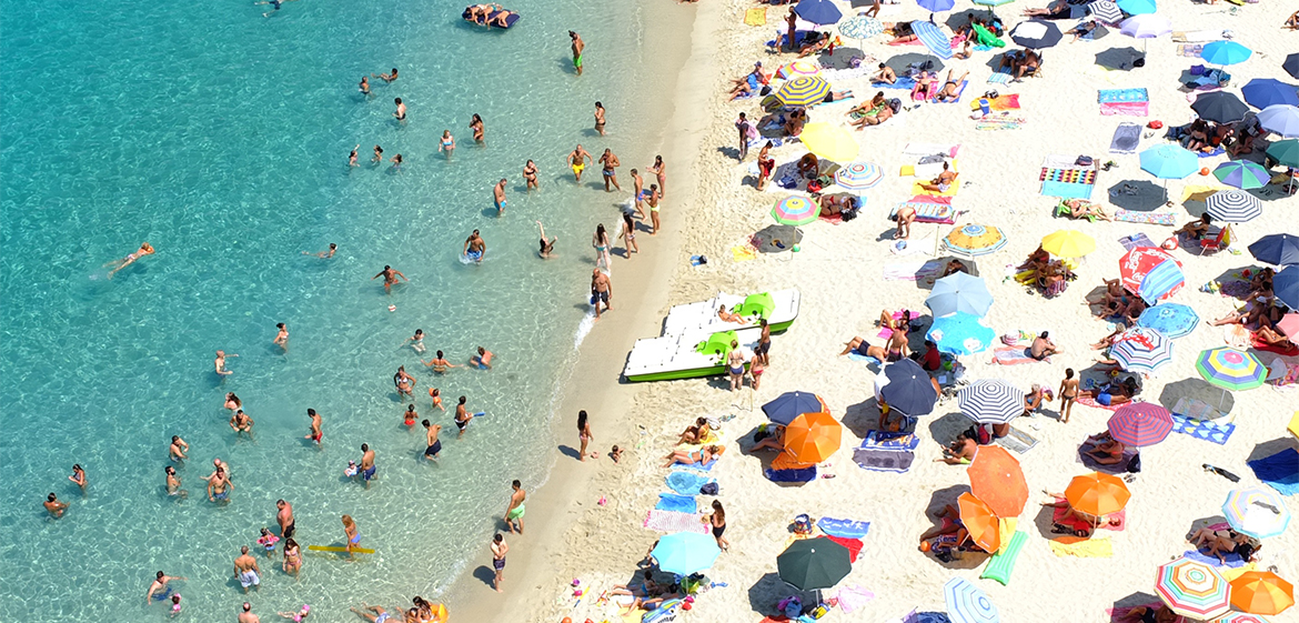 Overhead view of an Italian beach