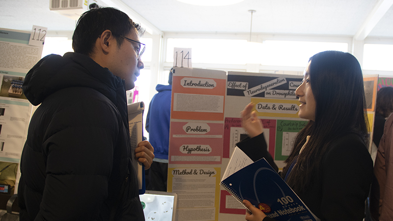 two students talking at science fair