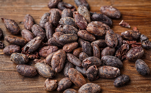 Photo of a pile of cacao beans