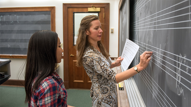 Music instructor with a student at a blackboard