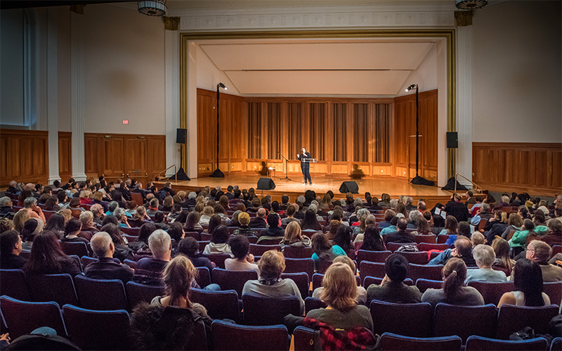 Audience watches a performance in Sweeney Concert Hall