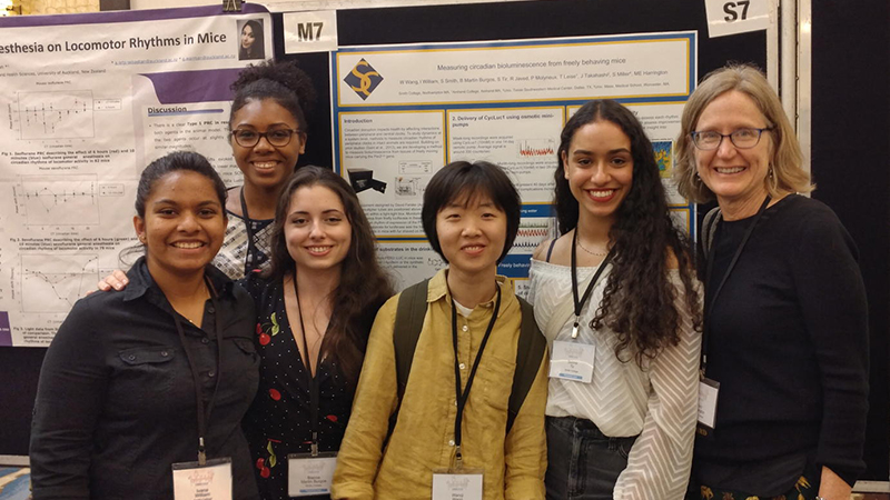 Neuroscience students with Professor Mary Harrington at a conference in Florica