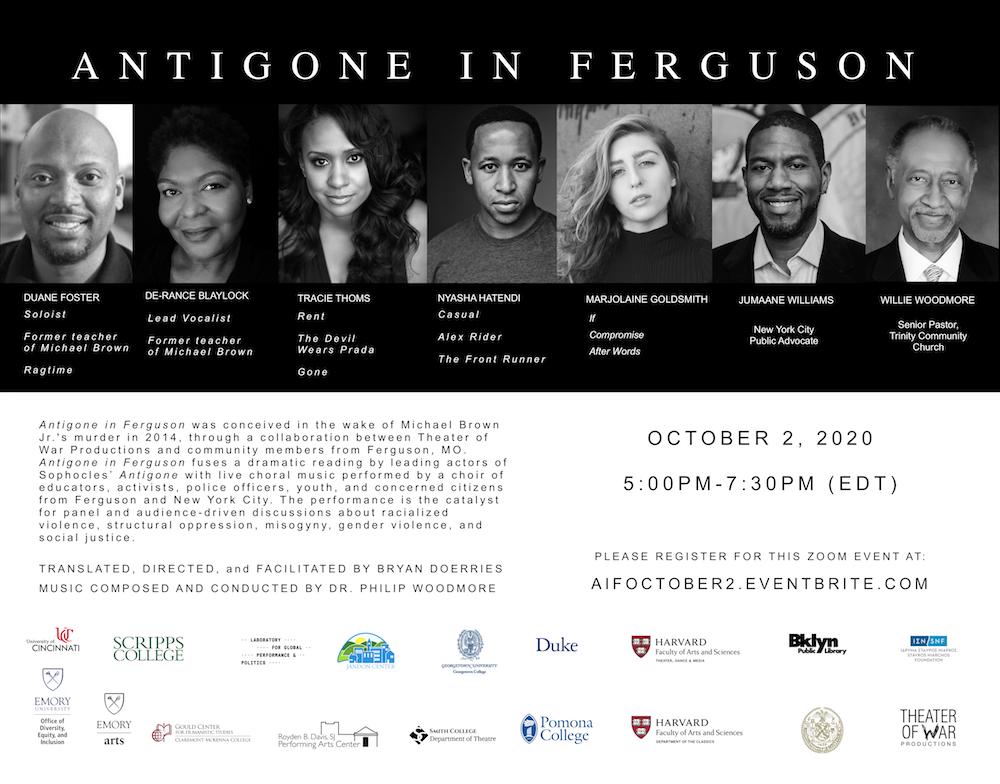 Poster for Theater of War Productions Antigone in Ferguson