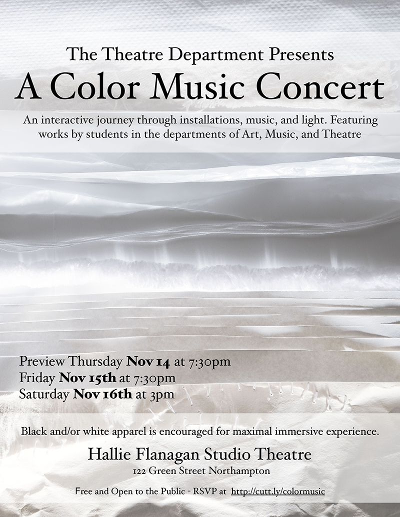 Poster for Color Music Concert, November 14 and 15 at 7:30 pm, November 16 at 3 pm in Hallie Flanagan Studio Theatre