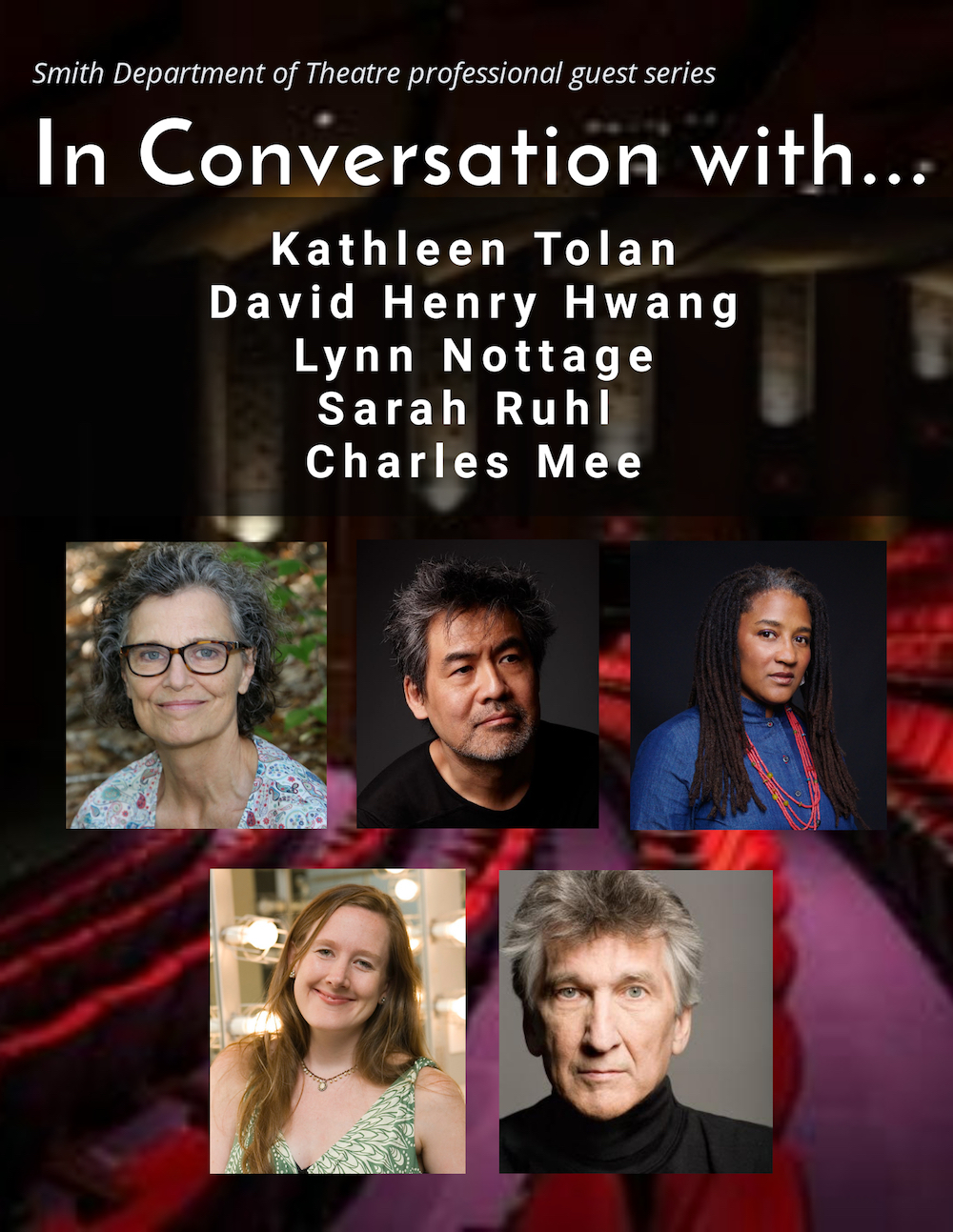 Poster of Fall 2020 events for In Conversations With ... Kathleen Tolan, David Henry Hwang, Lynn Nottage, Sarah Ruhl and Charles Mee
