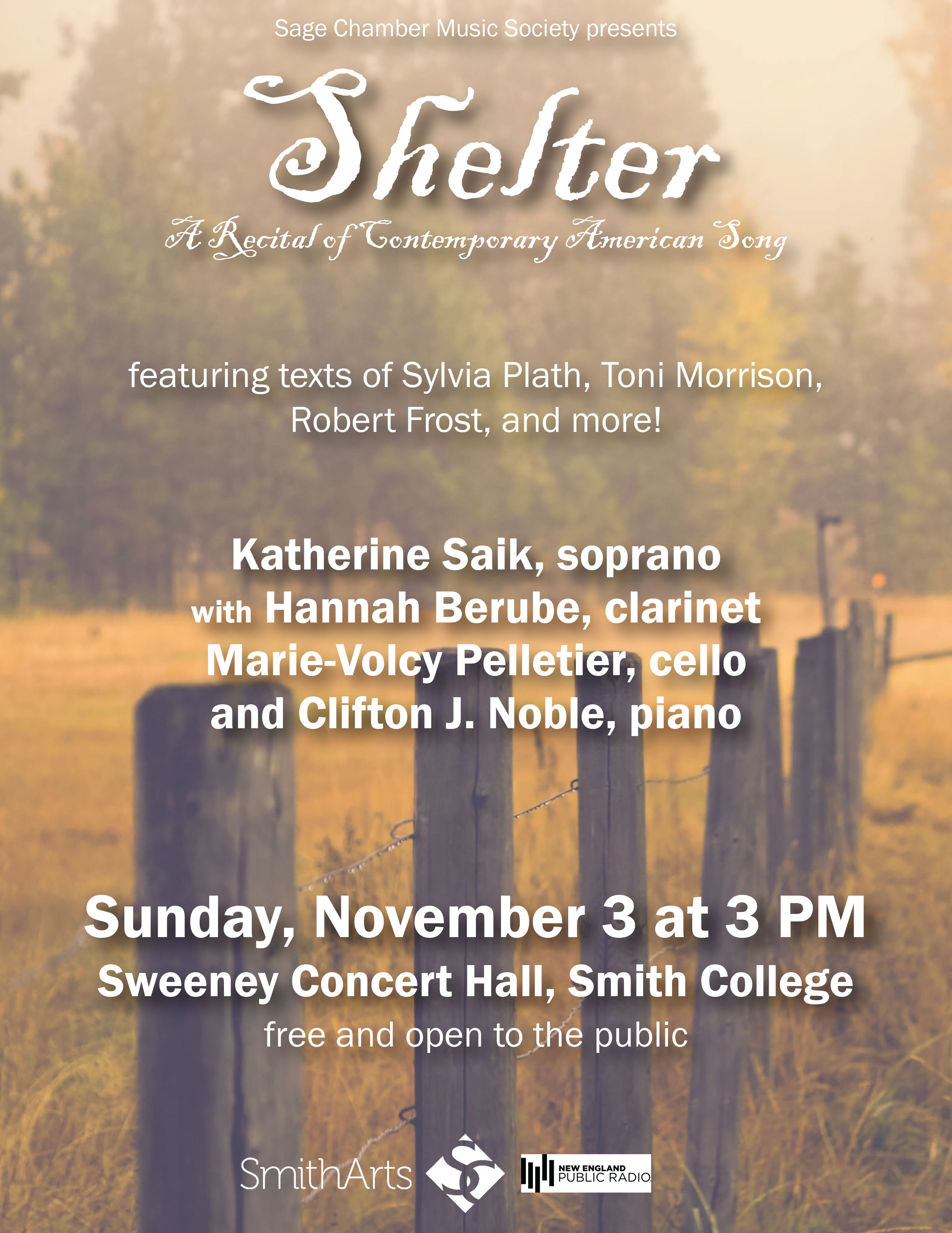Shelter: A Recital - featuring texts of Sylvia Plath, Toni Morrison, Robert Frost, and more! Sunday Nov 3, 3 p.m. Sweeney Concert Hall. Free and open to the public.
