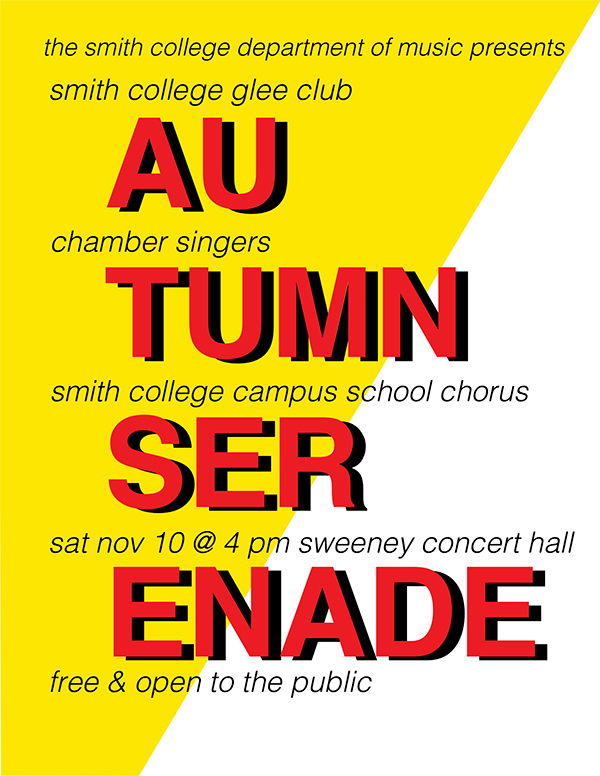Poster for Autumn Serenade, Saturday, November 10 at 4p.m. Sweeney Concert Hall in Sage Hall