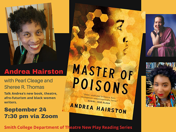Book jacket image of Master of Poisons, and headshots of Andrea Hairston, Pearl Cleage, and Sheree R. Thomas