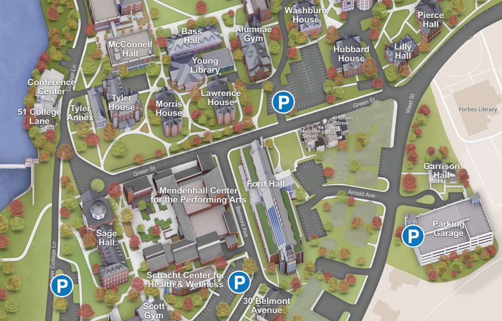 Map showing parking near Mendenhall Center