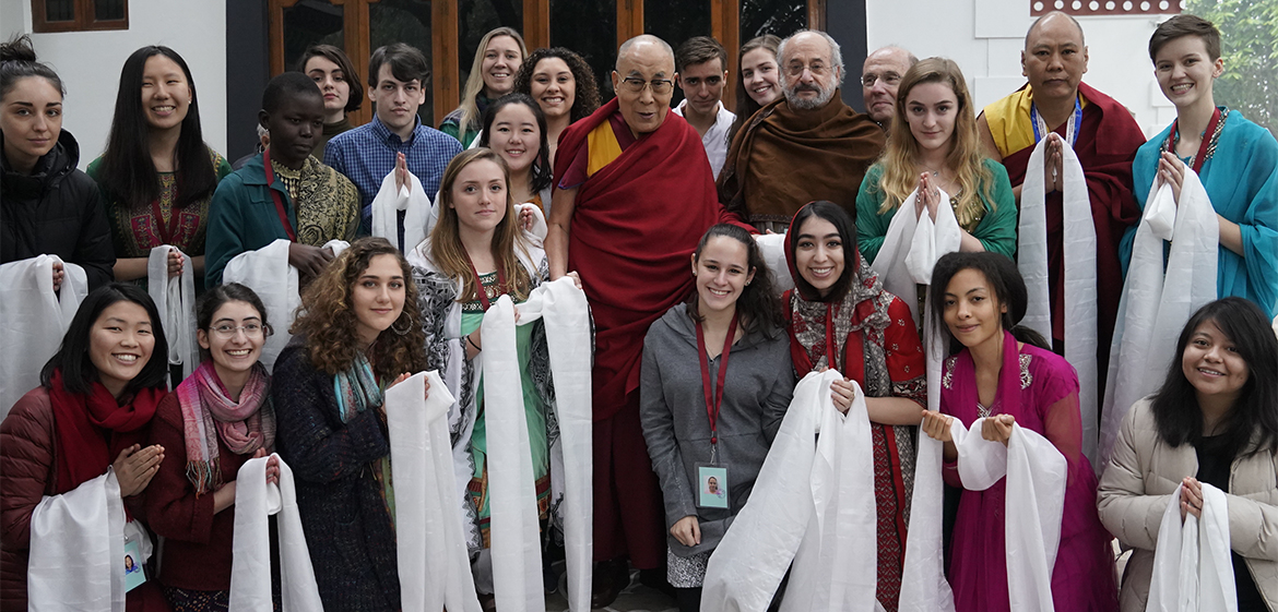 Group of students meeting His Holiness the Dalai Lama