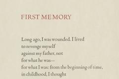 "Louise Glück broadside, ""First Memory"""